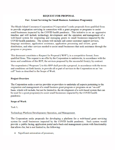 small business assistance grant proposal