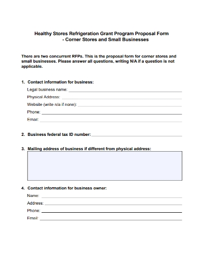 small business grant program proposal form