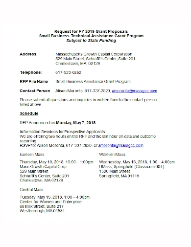 small business grant request for proposal