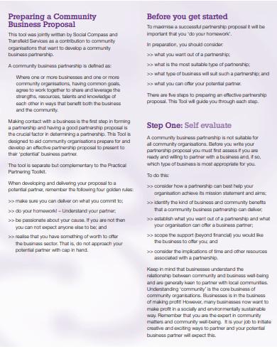 small business partnership proposal