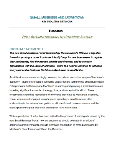 small business research problem statement