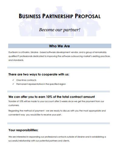 software business partnership proposal