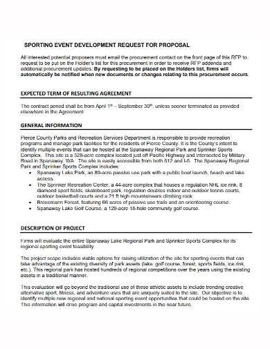sports event development proposal