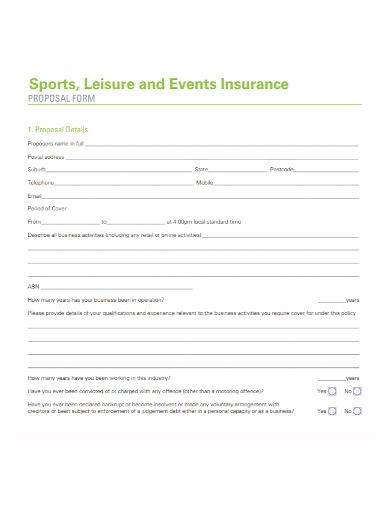 sports event insurance proposal form