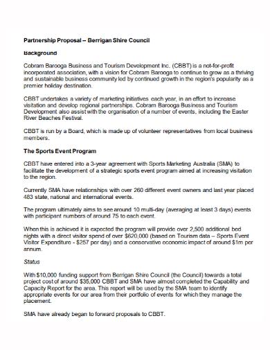 sports event program partnership proposal