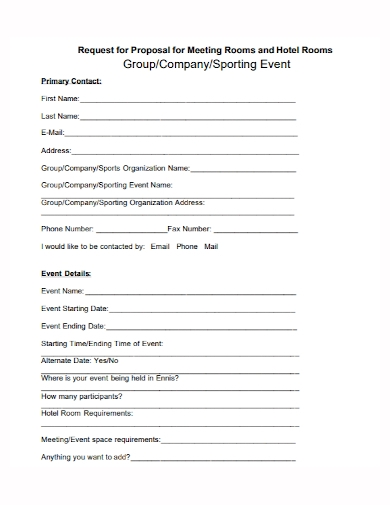 sports event request for proposal