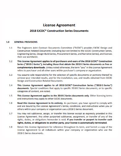 standard construction license agreement