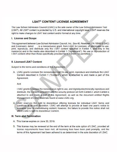 standard content license agreement