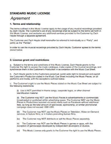 standard music license agreement