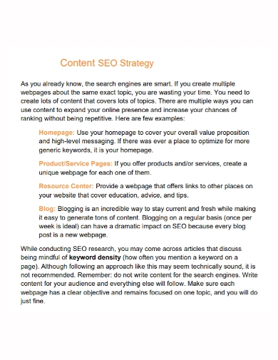 standard seo content strategy