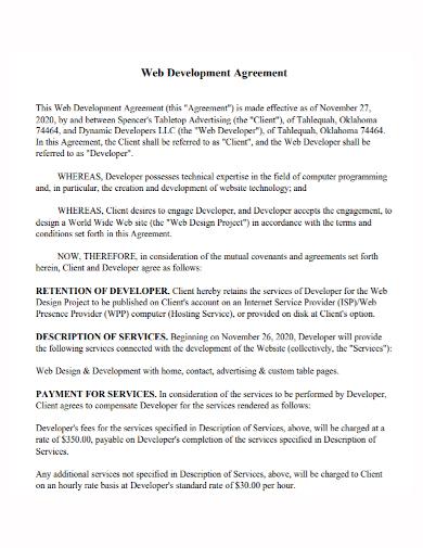 standard web development agreement