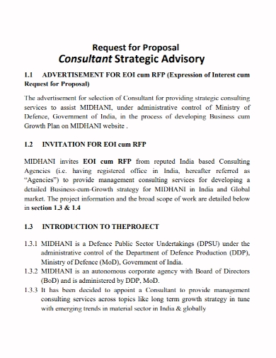 strategy advisory consulting proposal