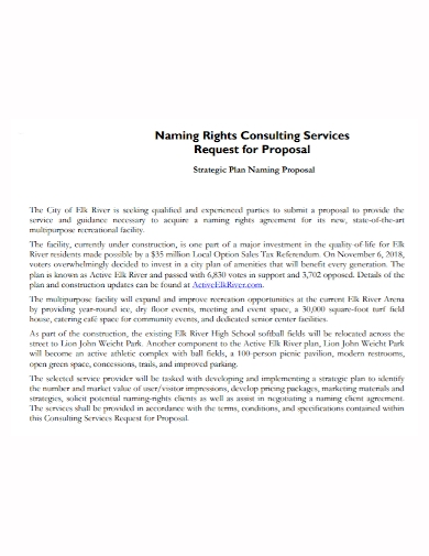 strategy consulting request for proposal