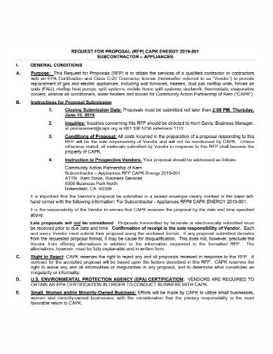 subcontractor appliance request for proposal