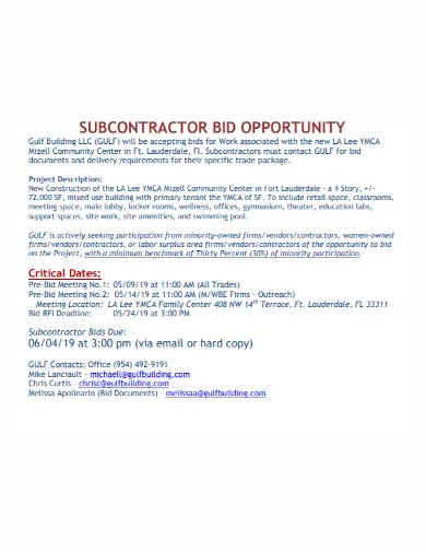 subcontractor bid opportunity
