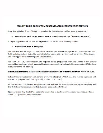subcontractor construction request to bid