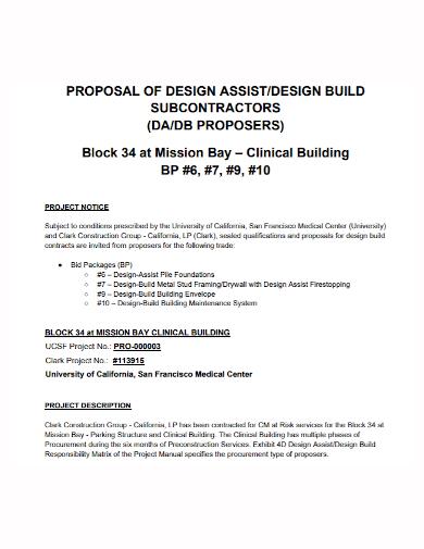 subcontractor design build proposal