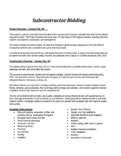 subcontractor project bid