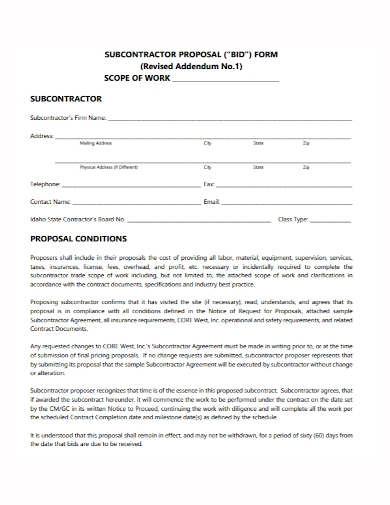 subcontractor proposal bid form