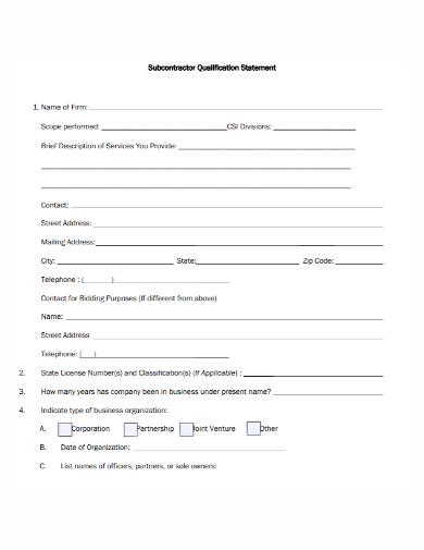 subcontractor qualification statement