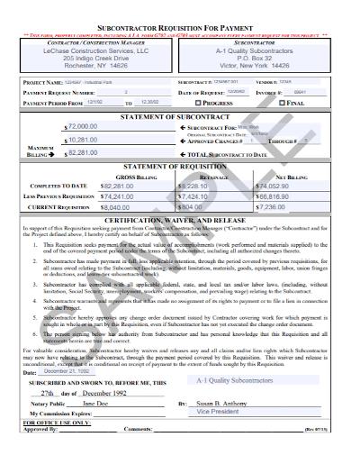subcontractor requisiton statement