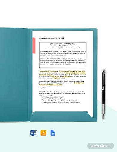 subcontractor statement template
