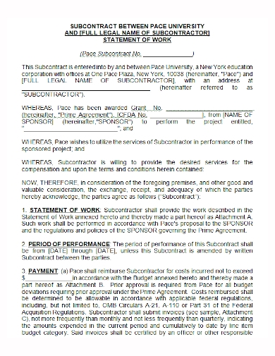 subcontractor statement of work