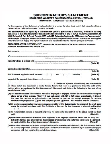 subcontractor statement