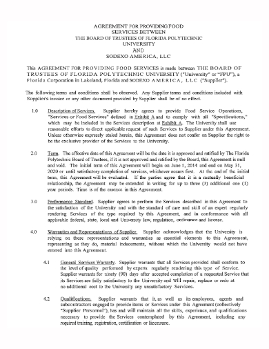 supplier food services agreement