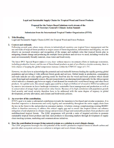 sustainable supply chain product proposal