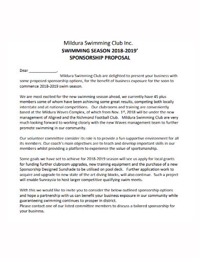swimming club season sponsorship proposal