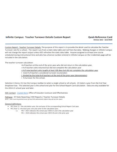teacher turnover custom report