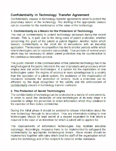 technology confidentiality transfer agreement
