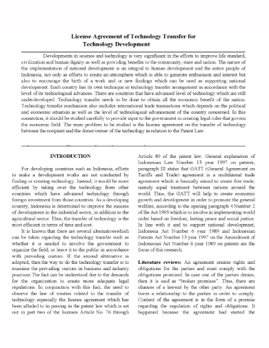 technology development transfer agreement