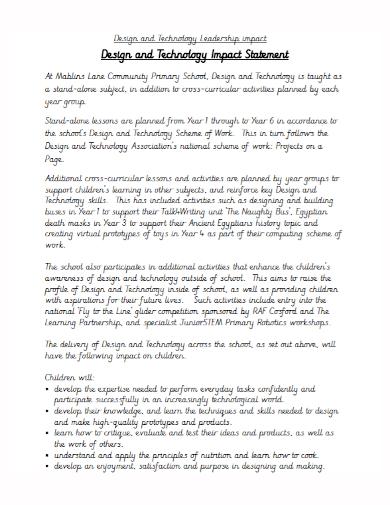 technology leadership impact statement