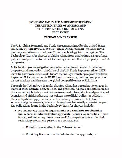 technology transfer trade agreement