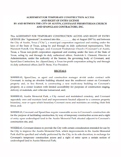 temporary construction access license agreement