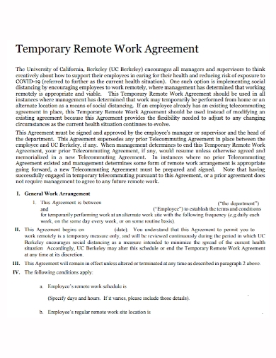 temporary remote work agreement