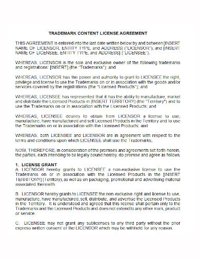trademark content license agreement