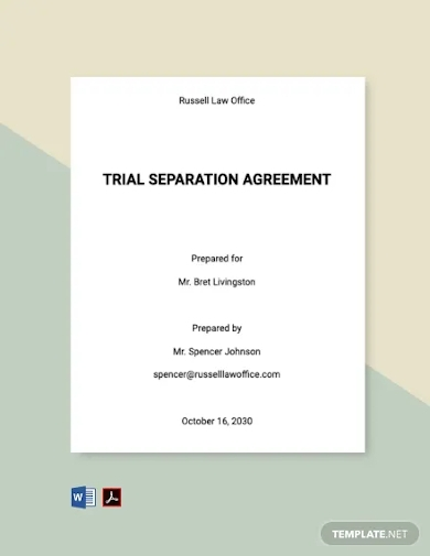 trial separation agreement template