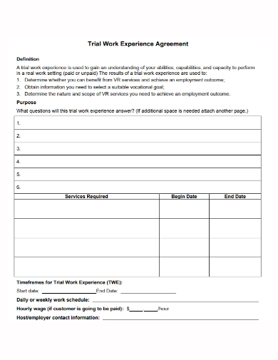 trial work experience agreement