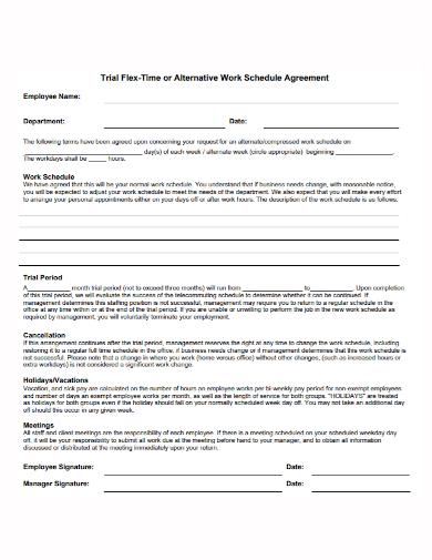 trial work schedule agreement