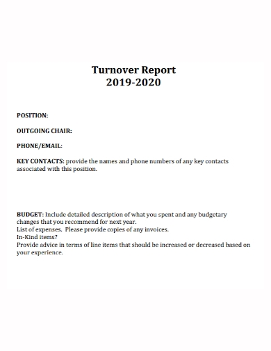 turnover budget report