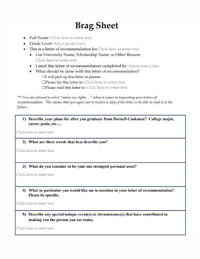 university scholarship brag sheet