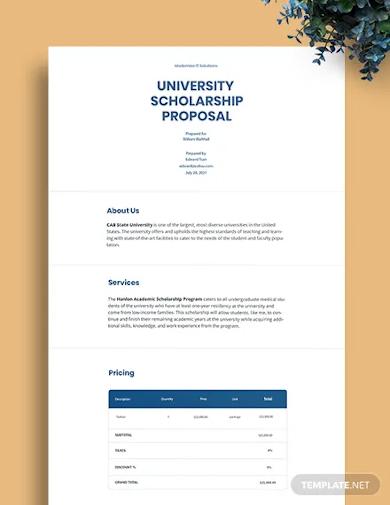 university scholarship proposal template