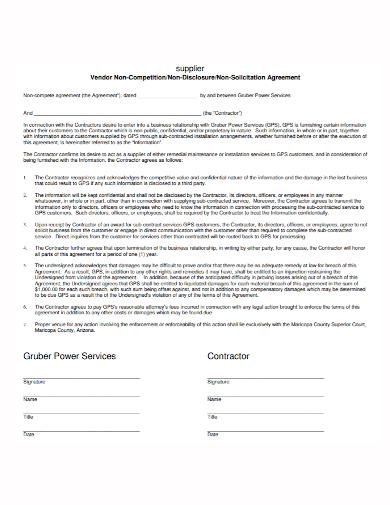 vendor supplier non solicitation agreement