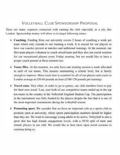 volleyball club sponsorship proposal