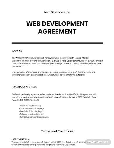 web development agreement template