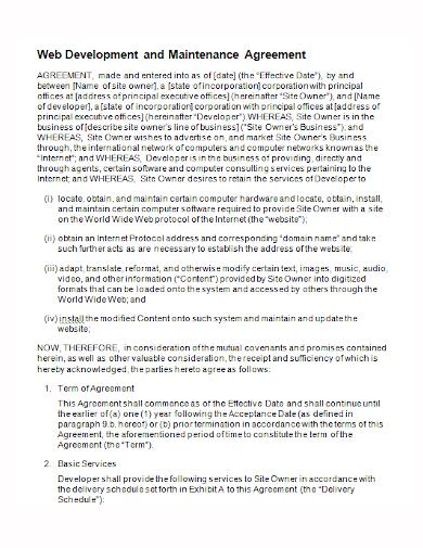 web development maintenance agreement