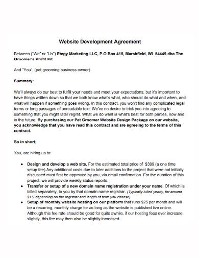 web development marketing agreement